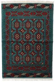 Turkaman Alfombra 105X150 Oriental Hecha A Mano Negro/Turquesa Oscuro (Lana, Persia/Irán)