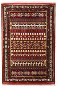 Turkaman Alfombra 132X195 Oriental Hecha A Mano Rojo Oscuro (Lana, Persia/Irán)