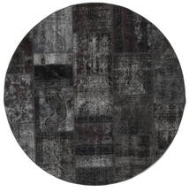 Patchwork - Persien/Iran Alfombra Ø 200 Moderna Hecha A Mano Redonda Gris Oscuro (Lana, Persia/Irán)