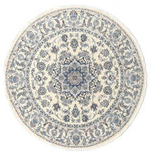 Nain Alfombra Ø 200 Oriental Hecha A Mano Redonda Beige/Gris Claro (Lana, Persia/Irán)