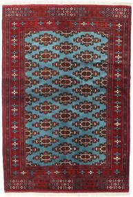 Turkaman Alfombra 133X190 Oriental Hecha A Mano Rojo Oscuro/Azul (Lana, Persia/Irán)