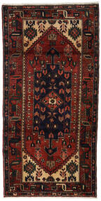 Hamadan Alfombra 98X195 Oriental Hecha A Mano Marrón Oscuro/Rojo Oscuro (Lana, Persia/Irán)