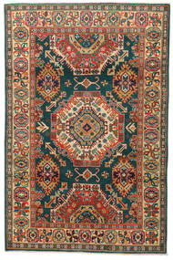 Kazak Alfombra 119X183 Oriental Hecha A Mano Gris Oscuro/Roja (Lana, Pakistán)