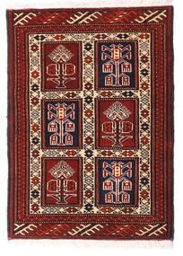 Turkaman Alfombra 63X87 Oriental Hecha A Mano Rojo Oscuro/Blanco/Crema (Lana, Persia/Irán)