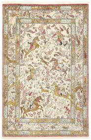 Ghom De Seda Alfombra 132X203 Oriental Hecha A Mano Beige/Beige Oscuro (Seda, Persia/Irán)