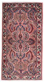 Sarough Alfombra 75X140 Oriental Hecha A Mano Púrpura Oscuro/Rosa Claro (Lana, Persia/Irán)