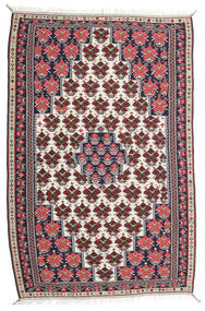 Kilim Senneh Alfombra 150X220 Oriental Tejida A Mano Púrpura Oscuro/Gris Claro (Lana, Persia/Irán)