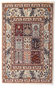 Moud Alfombra 76X117 Oriental Hecha A Mano Beige/Marrón Oscuro (Lana/Seda, Persia/Irán)