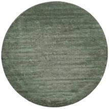 Handloom - Verde Hierba Alfombra Ø 250 Moderna Redonda Verde Oscuro/Verde Claro Grande (Lana, India)