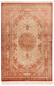 Ghom De Seda Alfombra 130X197 Oriental Hecha A Mano Marrón Claro/Roja (Seda, Persia/Irán)