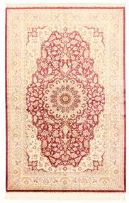 Ghom De Seda Alfombra 132X201 Oriental Hecha A Mano Beige/Rosa Claro (Seda, Persia/Irán)