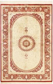 Ghom De Seda Alfombra 134X197 Oriental Hecha A Mano Beige/Roja (Seda, Persia/Irán)