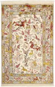 Ghom De Seda Alfombra 131X203 Oriental Hecha A Mano Beige/Marrón (Seda, Persia/Irán)