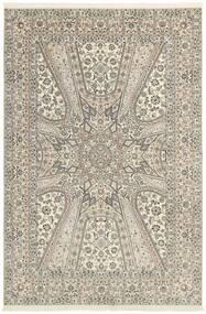 Nain 6La Alfombra 206X303 Oriental Hecha A Mano Gris Claro/Beige (Lana/Seda, Persia/Irán)