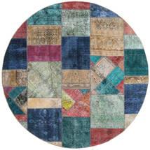 Patchwork - Persien/Iran Alfombra Ø 250 Moderna Hecha A Mano Redonda Gris Claro/Azul Oscuro Grande (Lana, Persia/Irán)
