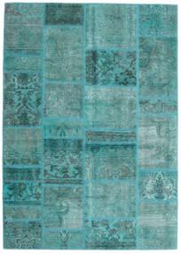 Patchwork - Persien/Iran Alfombra 141X198 Moderna Hecha A Mano Azul Turquesa/Azul Turquesa (Lana, Persia/Irán)