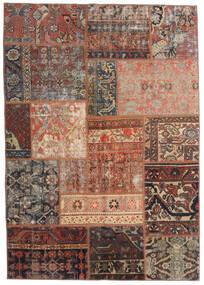Patchwork - Persien/Iran Alfombra 140X198 Moderna Hecha A Mano Rojo Oscuro/Marrón Claro/Marrón Oscuro (Lana, Persia/Irán)