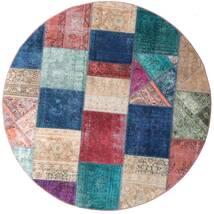 Patchwork - Persien/Iran Alfombra Ø 200 Moderna Hecha A Mano Redonda Azul Oscuro/Violeta (Lana, Persia/Irán)