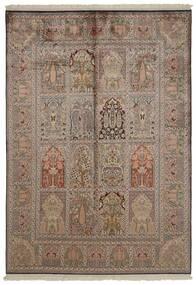 Cachemira Pura De Seda Alfombra 151X218 Oriental Hecha A Mano Gris Claro/Marrón/Marrón Claro (Seda, India)