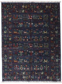 Shabargan Alfombra 154X205 Moderna Hecha A Mano Azul Oscuro/Gris Oscuro (Lana, Afganistán)