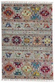 Shabargan Alfombra 100X150 Moderna Hecha A Mano Gris Claro/Marrón Oscuro (Lana, Afganistán)