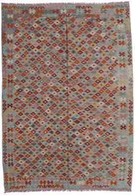 Kilim Afghan Old Style Alfombra 207X293 Oriental Tejida A Mano Gris Oscuro/Gris Claro/Rojo Oscuro (Lana, Afganistán)