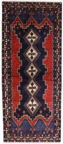 Afshar Alfombra 96X230 Oriental Hecha A Mano Azul Oscuro/Marrón Oscuro (Lana, Persia/Irán)