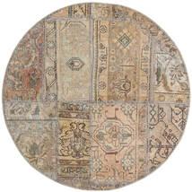 Patchwork - Persien/Iran Alfombra Ø 100 Moderna Hecha A Mano Redonda Gris Claro/Marrón (Lana, Persia/Irán)