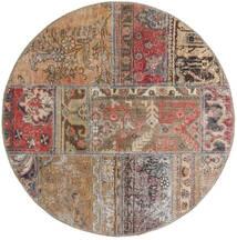 Patchwork - Persien/Iran Alfombra Ø 100 Moderna Hecha A Mano Redonda Gris Claro/Marrón/Rojo Oscuro (Lana, Persia/Irán)
