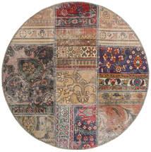 Patchwork - Persien/Iran Alfombra Ø 100 Moderna Hecha A Mano Redonda Gris Claro/Marrón Claro (Lana, Persia/Irán)