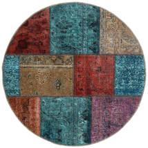 Patchwork - Persien/Iran Alfombra Ø 100 Moderna Hecha A Mano Redonda Marrón Oscuro/Gris Oscuro (Lana, Persia/Irán)