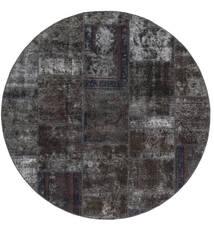 Patchwork - Persien/Iran Alfombra Ø 200 Moderna Hecha A Mano Redonda Negro/Marrón (Lana, Persia/Irán)