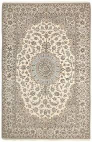 Nain 9La Alfombra 203X317 Oriental Hecha A Mano Gris Claro/Beige (Lana/Seda, Persia/Irán)