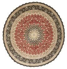 Ghom De Seda Alfombra Ø 203 Oriental Hecha A Mano Redonda Marrón Claro/Beige Oscuro (Seda, Persia/Irán)