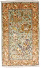 Cachemira Pura De Seda Alfombra 93X155 Oriental Hecha A Mano Beige Oscuro/Marrón (Seda, India)