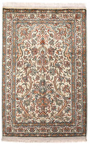 Cachemira Pura De Seda Alfombra 64X96 Oriental Hecha A Mano Gris Claro/Beige (Seda, India)
