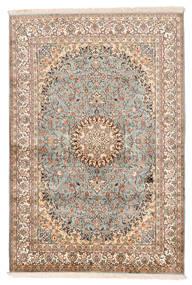 Cachemira Pura De Seda Alfombra 127X188 Oriental Hecha A Mano Beige/Marrón Oscuro (Seda, India)