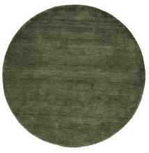 Handloom - Verde Hierba Alfombra Ø 200 Moderna Redonda Verde Oscuro (Lana, India)