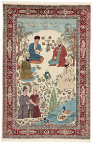 Sarough Alfombra 143X213 Oriental Hecha A Mano Beige/Marrón Oscuro (Lana/Seda, Persia/Irán)