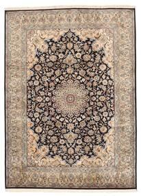 Cachemira Pura De Seda Alfombra 160X219 Oriental Hecha A Mano Gris Claro/Marrón Oscuro/Marrón (Seda, India)