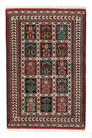 Turkaman Alfombra 98X146 Oriental Hecha A Mano Marrón Oscuro/Rojo Oscuro (Lana, Persia/Irán)