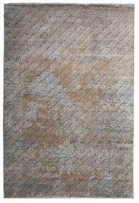 Damask Indo Alfombra 199X292 Moderna Hecha A Mano Gris Claro/Gris Oscuro (Lana/Seda De Bambú, India)