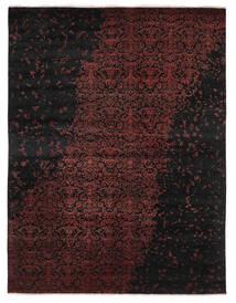 Damask Indo Alfombra 237X305 Moderna Hecha A Mano Negro/Rojo Oscuro (Lana/Seda De Bambú, India)