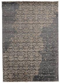 Damask Indo Alfombra 217X303 Moderna Hecha A Mano Gris Oscuro/Gris Claro (Lana/Seda De Bambú, India)