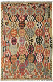 Kilim Afghan Old Style Alfombra 205X311 Oriental Tejida A Mano Rojo Oscuro/Beige Oscuro (Lana, Afganistán)