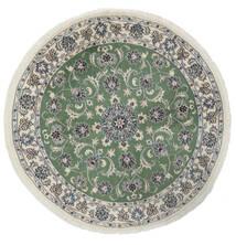 Nain Alfombra Ø 150 Oriental Hecha A Mano Redonda Blanco/Crema/Verde Oscuro (Lana, Persia/Irán)