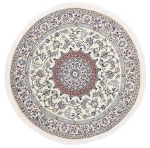 Nain 9La Alfombra Ø 145 Oriental Hecha A Mano Redonda Blanco/Crema/Gris Claro (Lana/Seda, Persia/Irán)