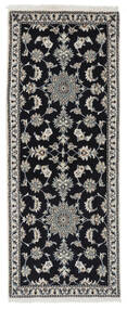 Nain Alfombra 77X195 Oriental Hecha A Mano Negro/Blanco/Crema (Lana, Persia/Irán)