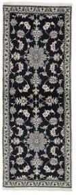Nain Alfombra 76X196 Oriental Hecha A Mano Negro (Lana, Persia/Irán)