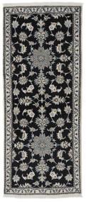 Nain Alfombra 80X194 Oriental Hecha A Mano Negro/Gris Oscuro (Lana, Persia/Irán)